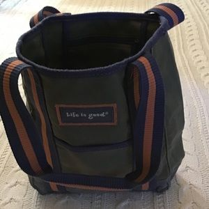 """LIFE IS GOOD"" TOTE / INSIDE WATER BOTTLE NETTING"